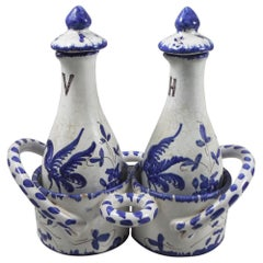 Set of 3-Piece French Blue and White Oil and Vinegar Moustiers Style