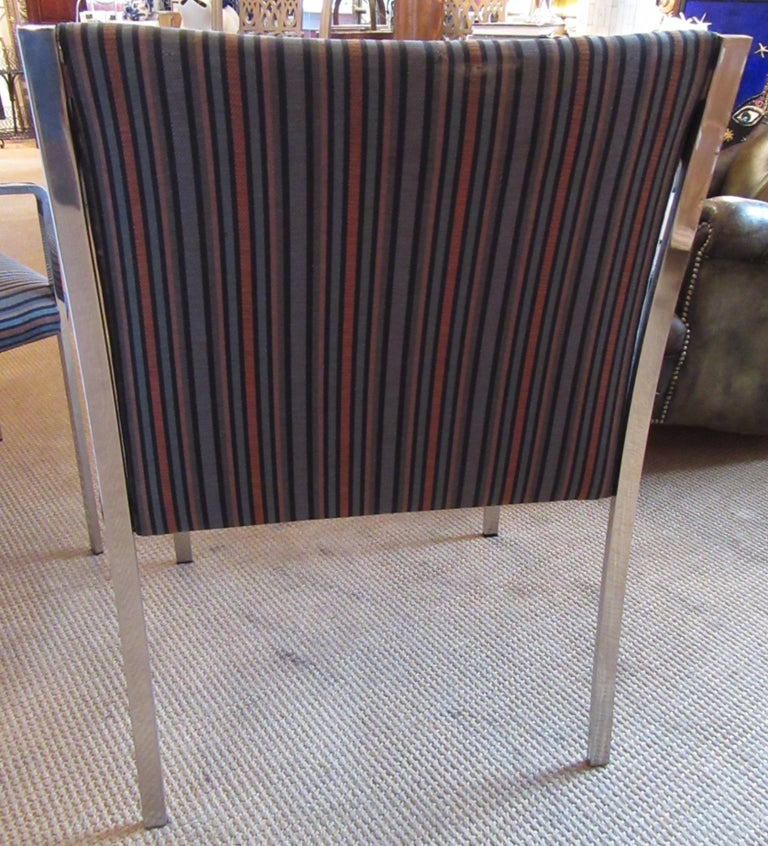 Modern Set of 3 Pierre Cardin Chrome Armchairs For Sale