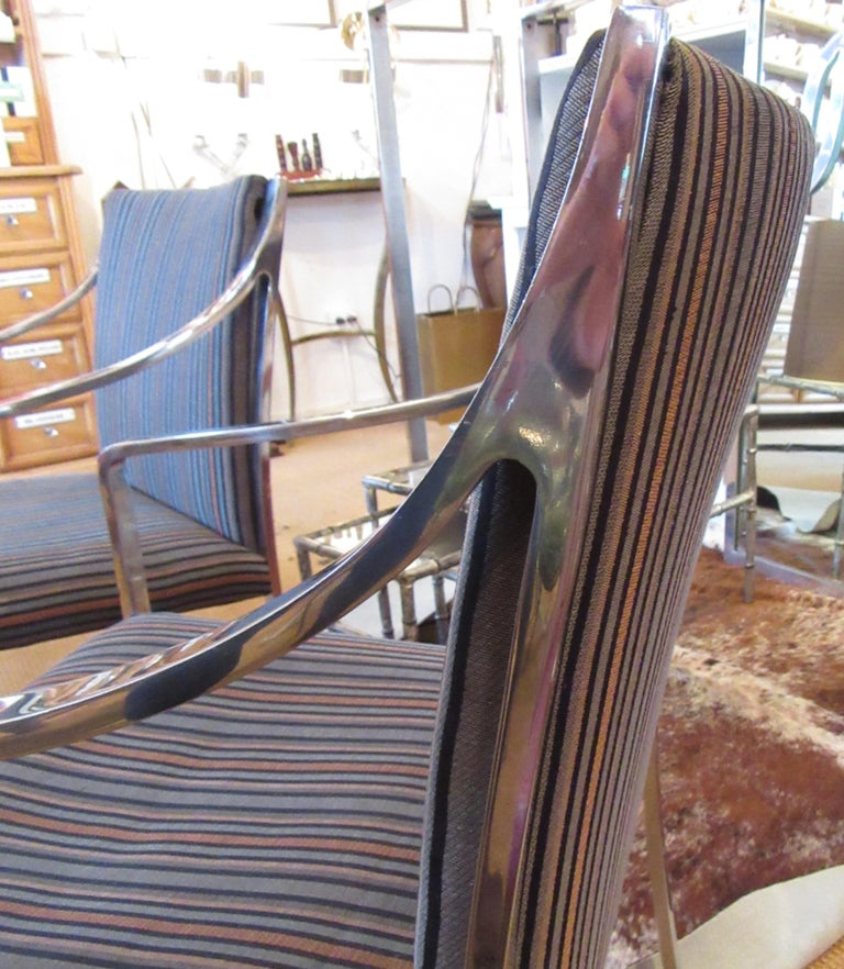 Set of 3 Pierre Cardin Chrome Armchairs In Good Condition For Sale In Mt Kisco, NY