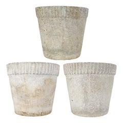 Set of 3 Planters in Flower Pot Shape with Ribbed Rims by Willy Guhl for Eternit
