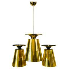 Set of 3 Polished Full Brass Mid-Century Modern Pendant Lamps by Stilnovo, 1950s