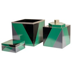 Set of 3 Polychrome and Laminated and Polished Nickel Art Deco Style Boxes