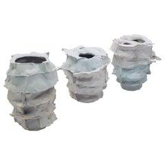 Set of 3 Porcelain Vases Handsculpted by Monika Patuszyńska