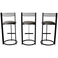 Set of 3 Postmodern Italian Memphis Milano Minimalist Style Bar Stools