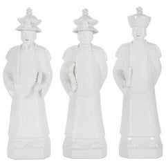 Set of 3 Qing Emperors Handcrafted Porcelain Hand Painted White