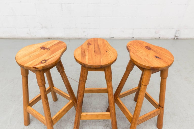 Mid-Century Modern Set of Three Rainer Daumiller Pine Bar Stools For Sale
