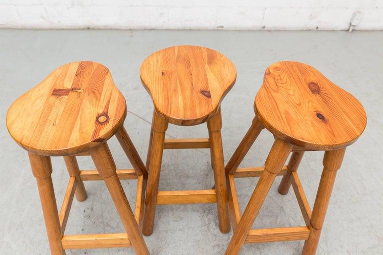Danish Set of Three Rainer Daumiller Pine Bar Stools For Sale