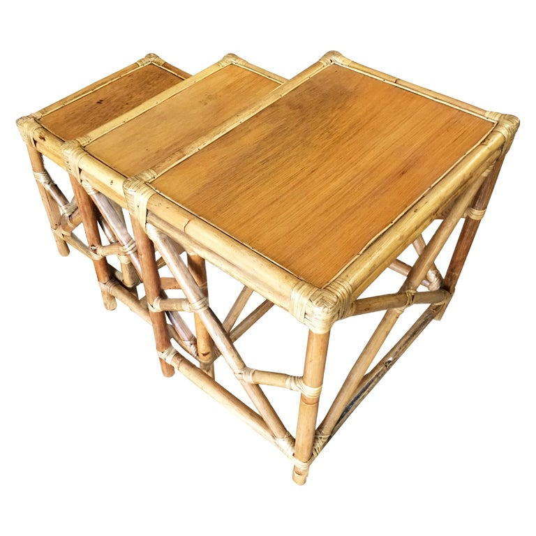 Set Of 3 Rattan Nesting Side Tables With Mahogany Top And Fancy Wrings For