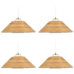 Set of 3 Rattan Opal Glass Pendant Lamps NOS by Doria, 1960