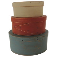 Set of 3 Red, Blue and Tan Wooden Shaker Boxes