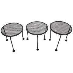 """Set of 3 Russell Woodard Round Black """"Sculptura"""" Stacking Tables"""