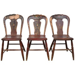 Set of 3 Authentic Plank Chairs with Red/Brown Paint, Pennsylvania, circa 1840