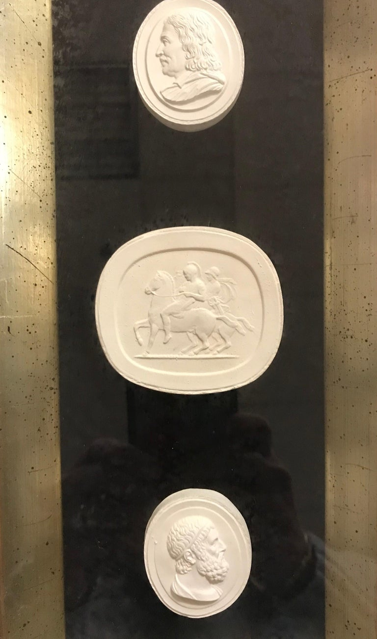 Neoclassical Set of 3 Shadow Box Framed Plaster Intaglios 9 Total For Sale