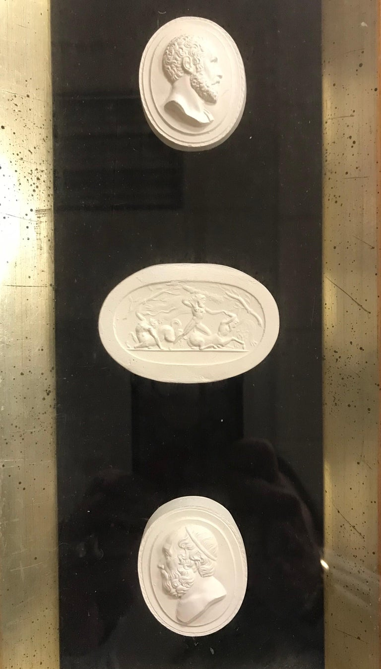 Italian Set of 3 Shadow Box Framed Plaster Intaglios 9 Total For Sale