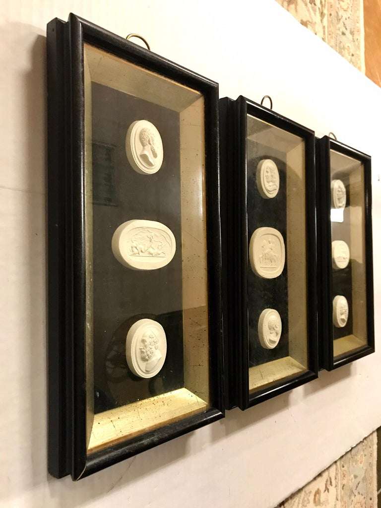Set of 3 Shadow Box Framed Plaster Intaglios 9 Total In Good Condition For Sale In West Hartford, CT