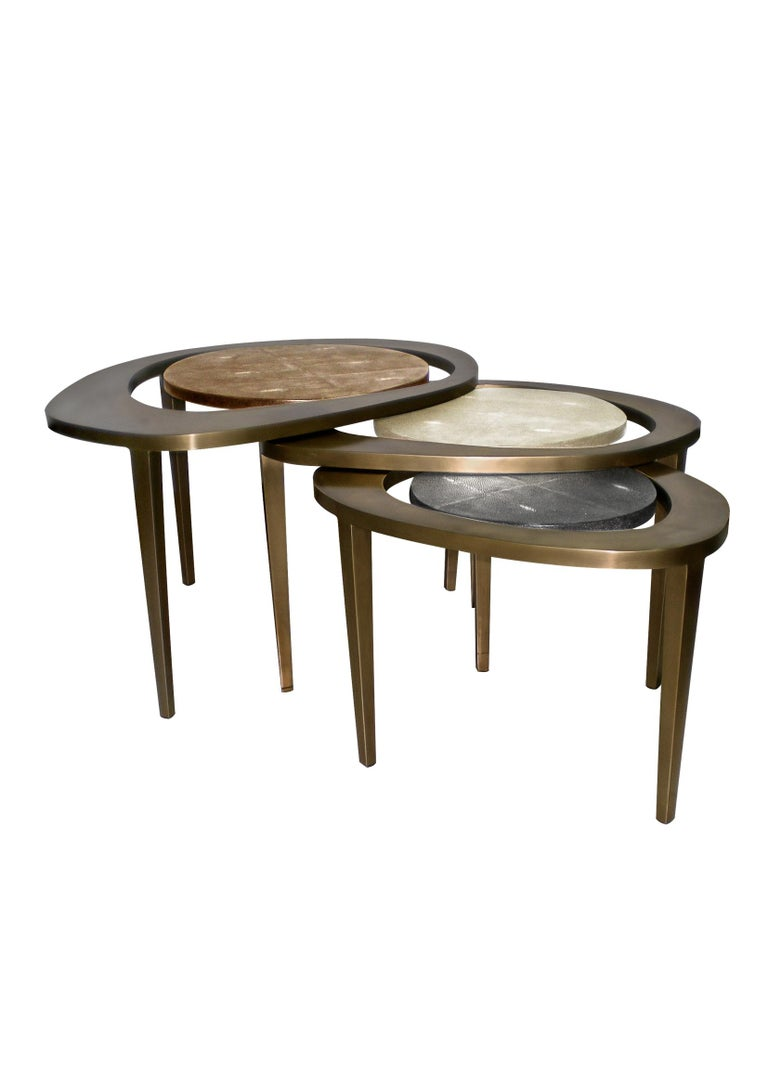 Set of 3 Shagreen Nesting Side Tables with Brass Inlay Work by R&Y Augousti For Sale 8
