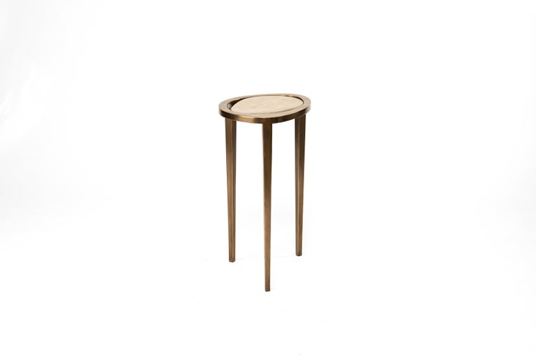 Art Deco Set of 3 Shagreen Nesting Side Tables with Brass Inlay Work by R&Y Augousti For Sale