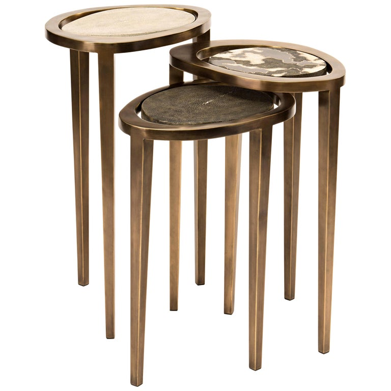 Set of 3 Shagreen Nesting Side Tables with Brass Inlay Work by R&Y Augousti For Sale