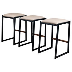 Set of 3 Shaker Backless Stool by Ambrozia, Walnut, Black Steel, Sandle Vinyl