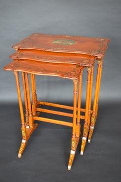 Set of 3 Sheraton Revival Satin Wood Nesting Table