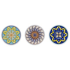 Set of 3 Sicilian Clay Hand-Painted Colapesce Dinner Plates, Made in Italy