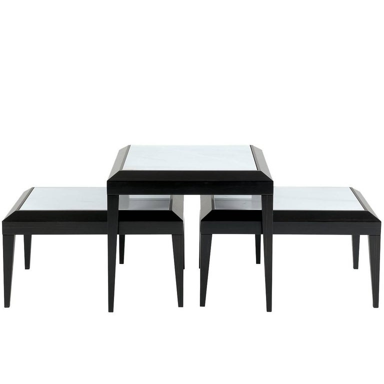 Set of Three Side Tables in Black