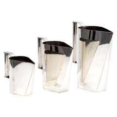 Set of 3 Silver Plated Modernist Pitchers Attributed to Cini Boeri, circa 1975