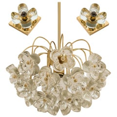 Set of 3 Sische Glass and Brass Chandeliers, 1960s, Kalmar Style