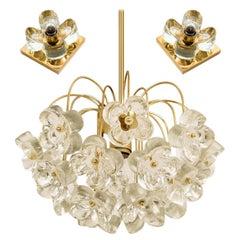 Set of 3 Sische Glass and Brass Light Fixtures, 1960s, Kalmar Style