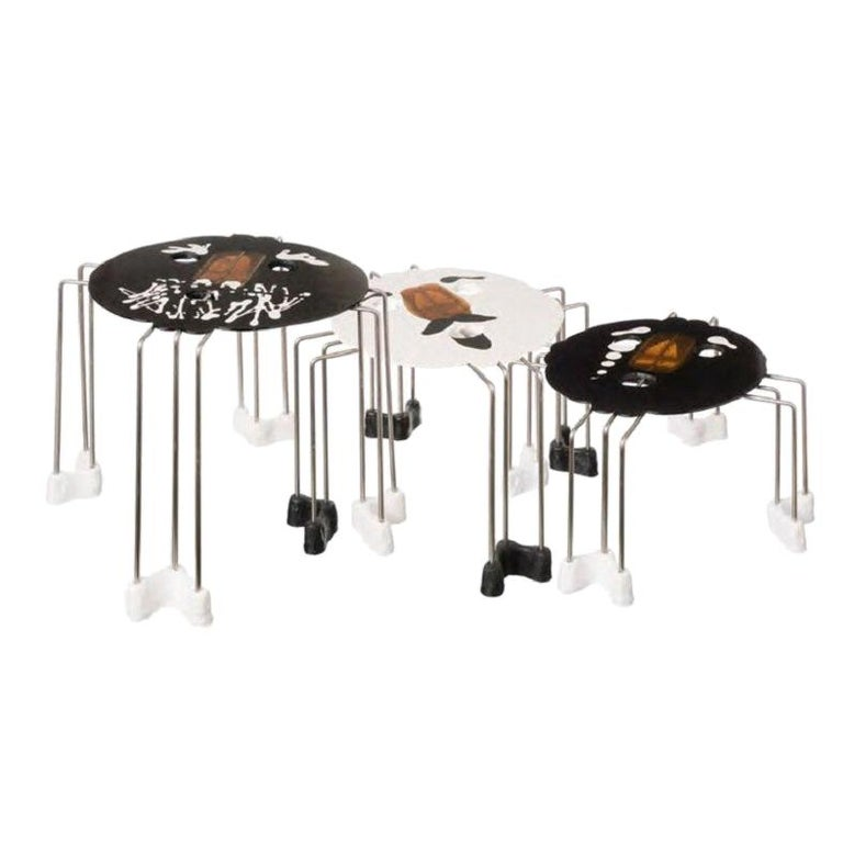 Set of 3, Size XL Triple Play Coffee Table in Black and White by Gaetano Pesce For Sale