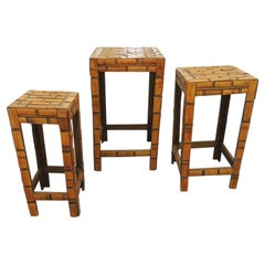 Set of '3' Slatted Asian Bamboo Stackable Side Tables