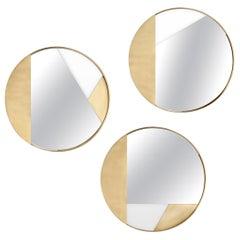 Set of 3 Small Brass Edition Mirror by Edizione Limitata