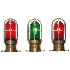 Set of 3 Small Signal Lamp in Brass and Colored Glass, France, circa 1950-1959