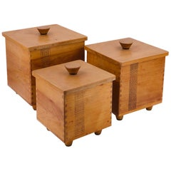 Set of 3 Solid Wood Midcentury Japanese Trinket Boxes