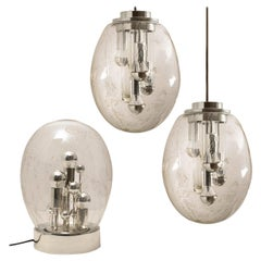 Set of 3 Space Age Sputnik Light Fixtures by Doria, Germany, 1970s