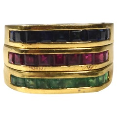 Set of 3 Stackable Yellow Gold with Emerald Ruby and Blue Sapphire Rings