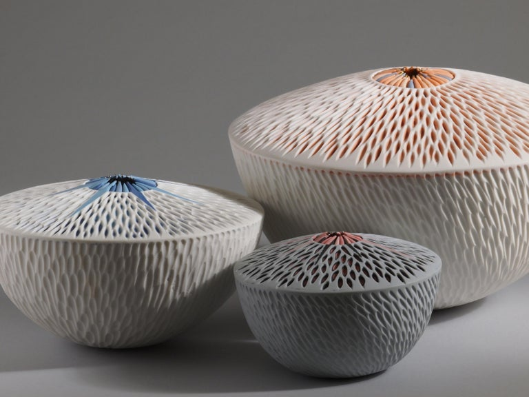 Martha Pachon Rodriguez, group of 3 starfish bowls, 2019, porcelain. Unique pieces, entirely handmade.  Measures: Large bowl: 26cm diameter x 18cm height Medium bowl: 20cm diameter x 12cm height Small bowl: 14cm diameter x 10cm height  These