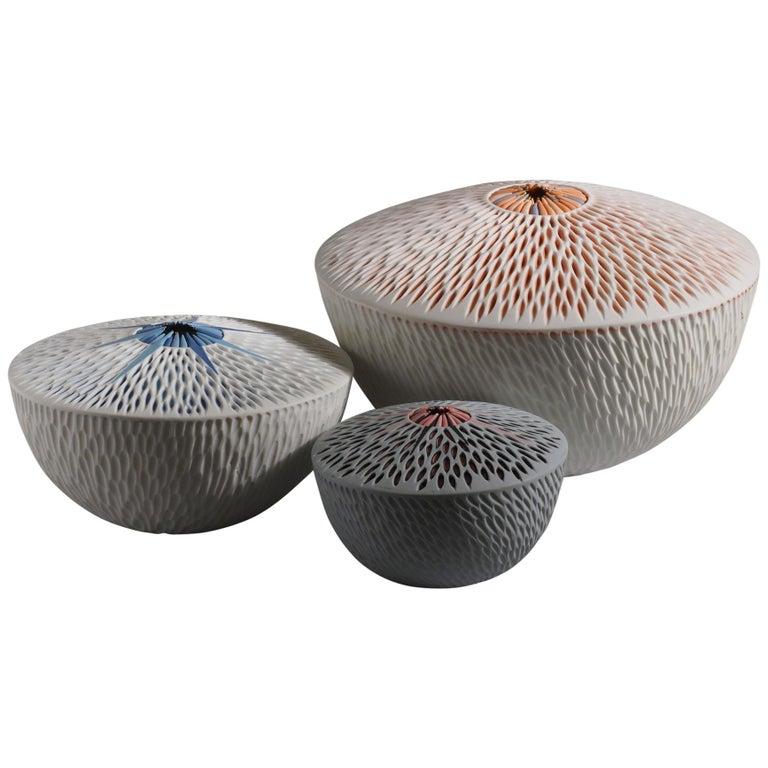 Set of 3 Starfish Bowls Porcelain Italian Contemporary 21st Century Unique For Sale