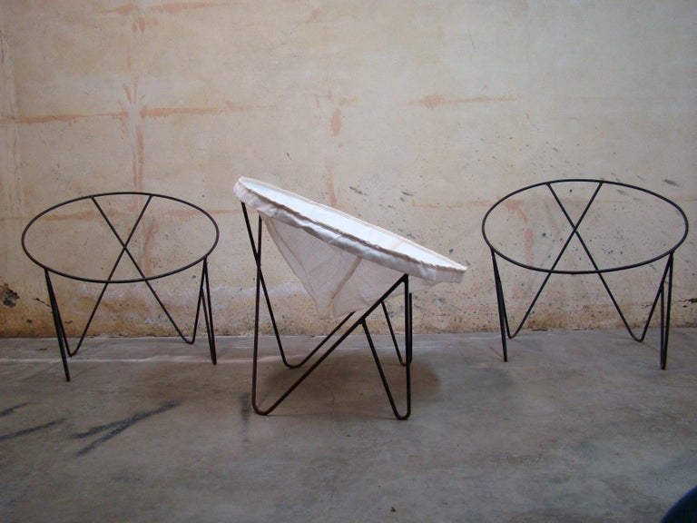Mid-Century Modern Set of 3 Steel Hoop 1950s Poolside Chairs with Hairpin Front Legs 'Narrow X' For Sale