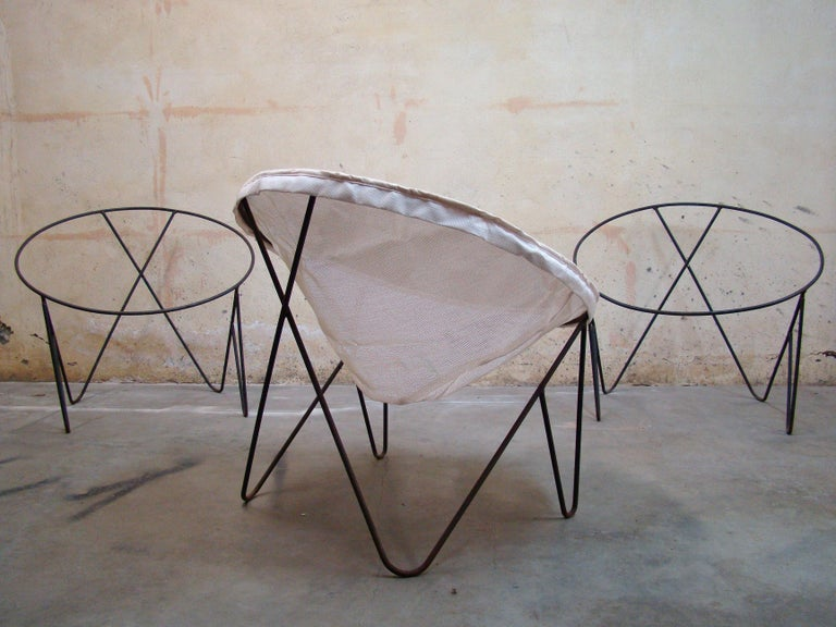 North American Set of 3 Steel Hoop 1950s Poolside Chairs with Hairpin Front Legs 'Narrow X' For Sale