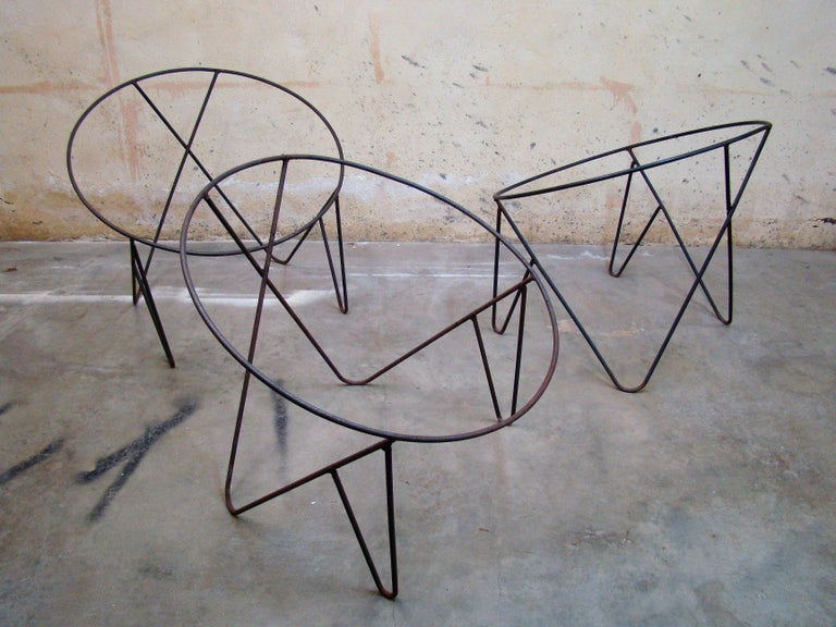 20th Century Set of 3 Steel Hoop 1950s Poolside Chairs with Hairpin Front Legs 'Narrow X' For Sale