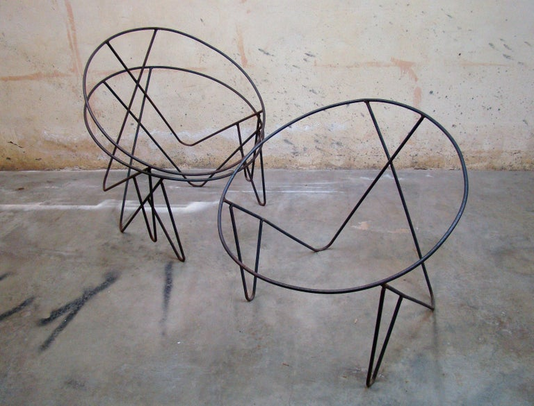 Set of 3 Steel Hoop 1950s Poolside Chairs with Hairpin Front Legs 'Narrow X' For Sale 2