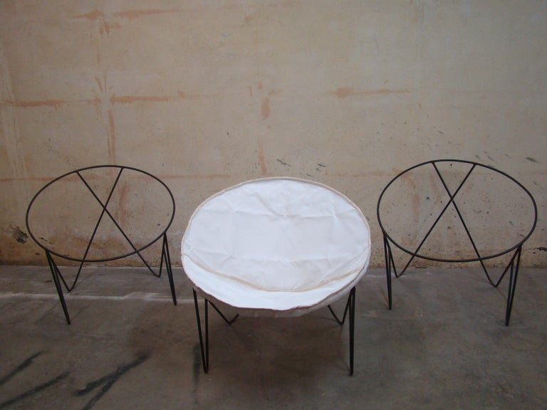 Set of 3 Steel Hoop 1950s Poolside Chairs with Hairpin Front Legs 'Narrow X' For Sale 3