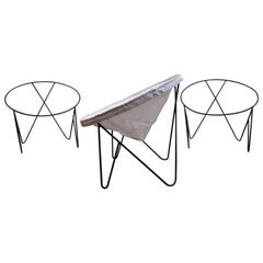 Set of 3 Steel Hoop 1950s Poolside Chairs with Hairpin Front Legs 'Narrow X'