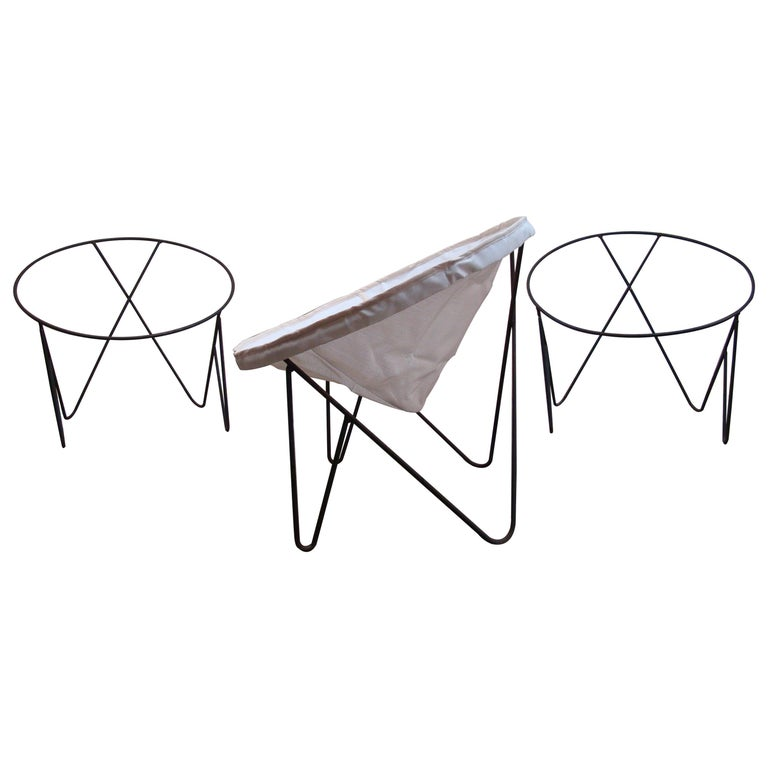 Set of 3 Steel Hoop 1950s Poolside Chairs with Hairpin Front Legs 'Narrow X' For Sale
