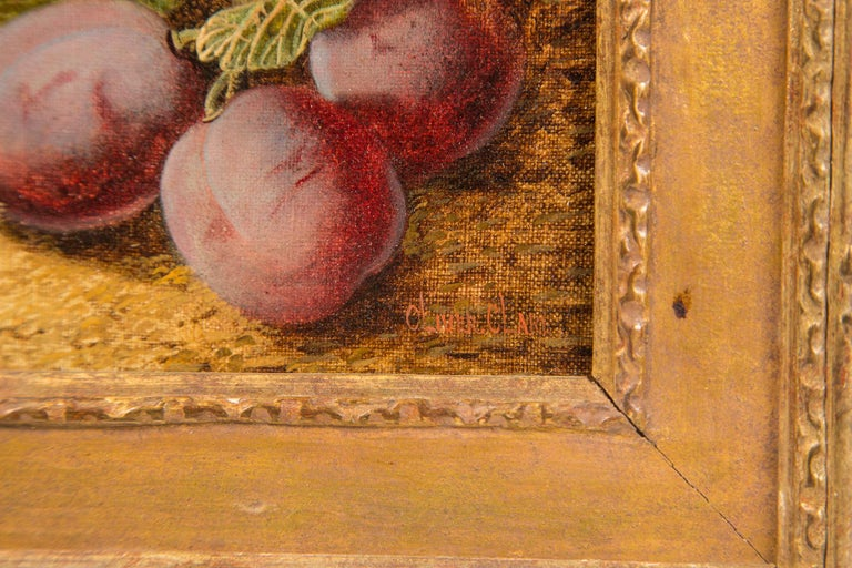 Hand-Painted Set of 3 Still Life in Gilt Frames Signed For Sale