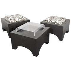 Set of 3 Stool Frames Black MDF with 2 Leather Cushions and 1 Acrylic Table Top