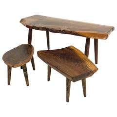 Set of 3 Studio Craft Walnut Live Edge Roy Sheldon Tables Rare and Signed