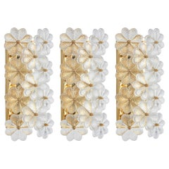 Set of 3 Stunning Murano Glass Flower Wall Lights by Ernst Palme, Germany, 1970s