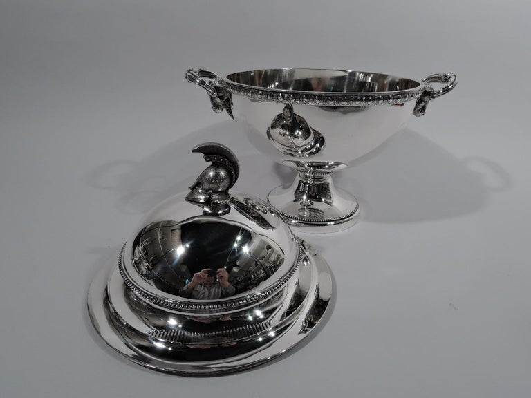 American Set of 3 Super Stylish Early Tiffany Etruscan Revival Sterling Silver Tureens For Sale